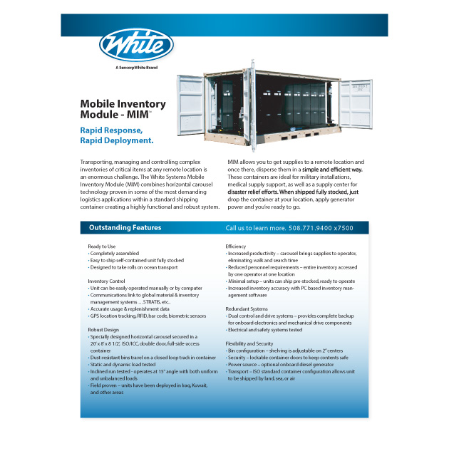 Mobile inventory modules for remote locations, Mobile Inventory Module, White Systems