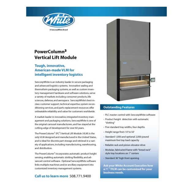 Vertical Lift Module, Power Column 3, White Systems